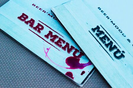 Background of bar menus or restaurants close-up