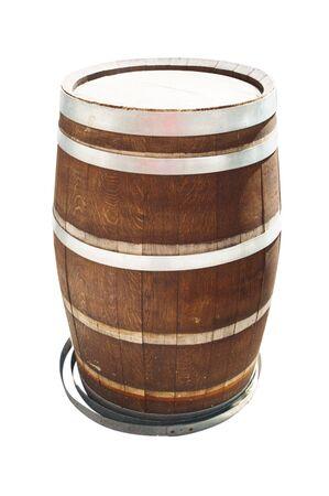 Oak barrel on foreground isolated white background.
