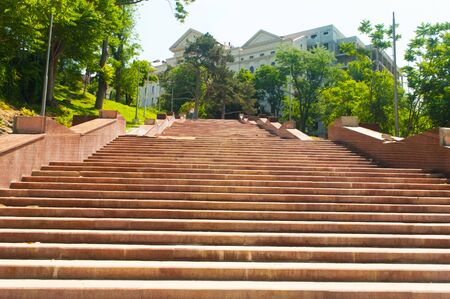 Granite staircase in the old city park. Banco de Imagens - 125970151