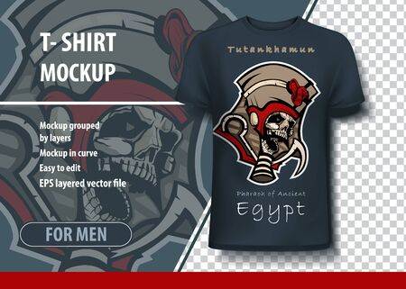 Vector layout for printing on T-shirts of the ancient Egyptian pharaoh Tutankhamun