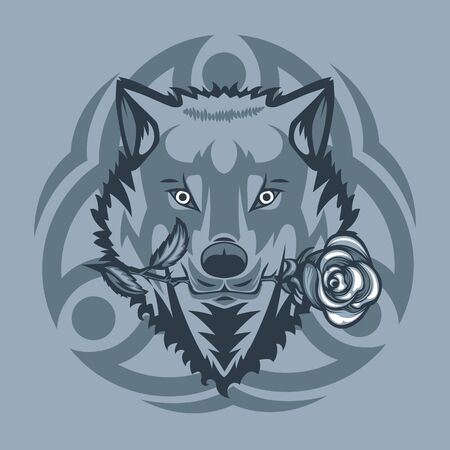 White wolf with a rose in mouth and with Tribal sign behind
