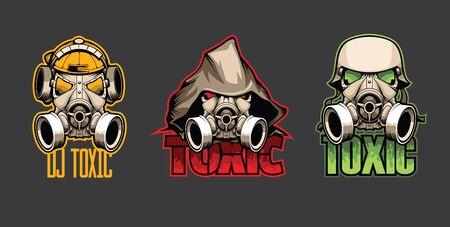 Conjunto de tres máscaras biológicas con la inscripción Toxic Ilustración de vector