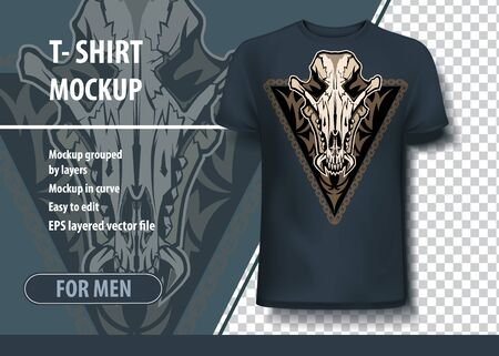 Mockup template for print, Jackal skull. Layout vector as an offer printing on T-shirts