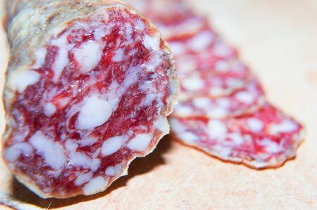 Sliced dry salami closeup