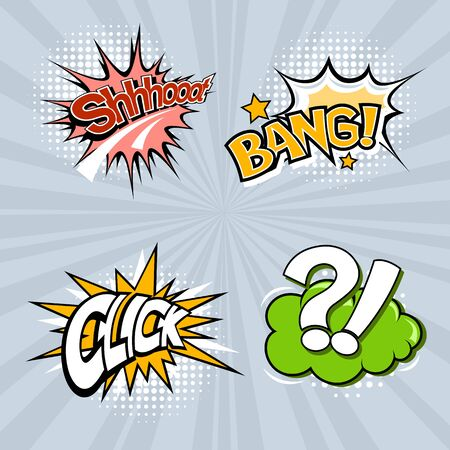 Set of four colored speech bubbles on a gray background