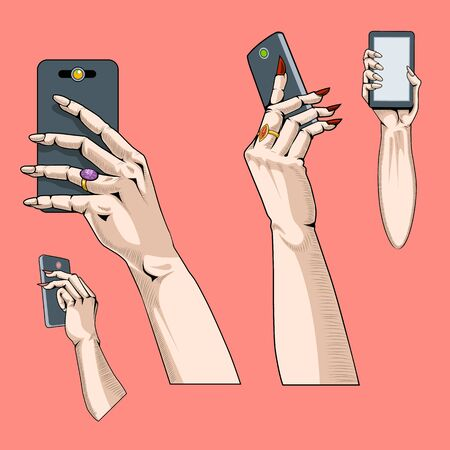 Set of four hands with the phone in different positions. Comic book style  イラスト・ベクター素材