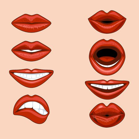 Set of female lips expressing different emotions in a comic style