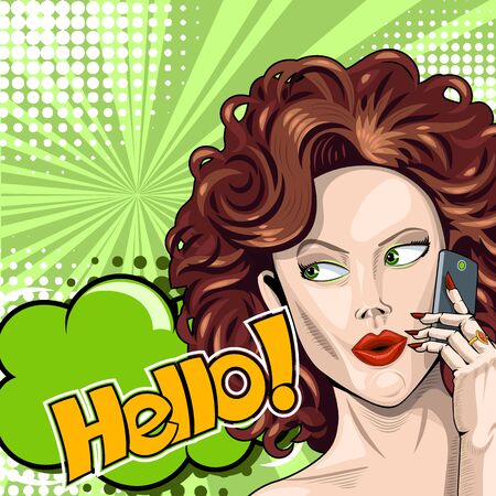 Redhead girl says hello on smartphone in comic style