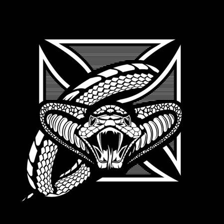 Snake wrapped knights cross, one-color vector template Ilustração