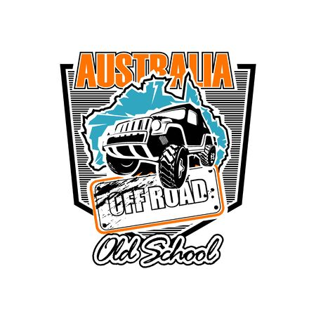Layout template for the logo of an Australian school off-road school on SUV Illustration