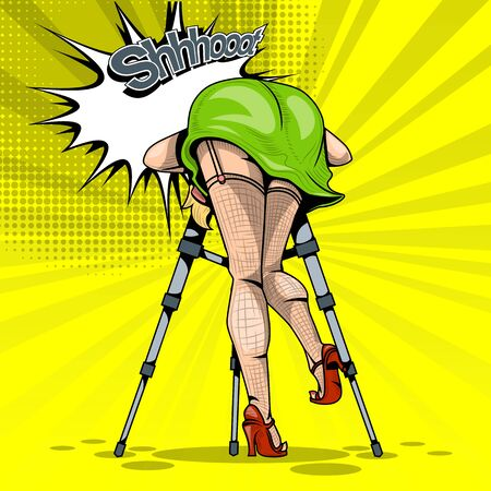 Comic with a girl who takes a photo on a tripod on a yellow background