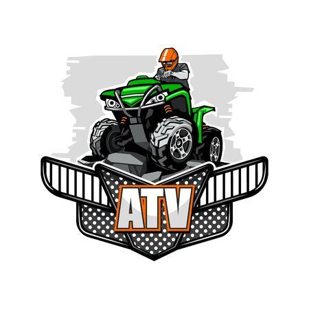ATV Quadbike climbet on mountains, isolated background