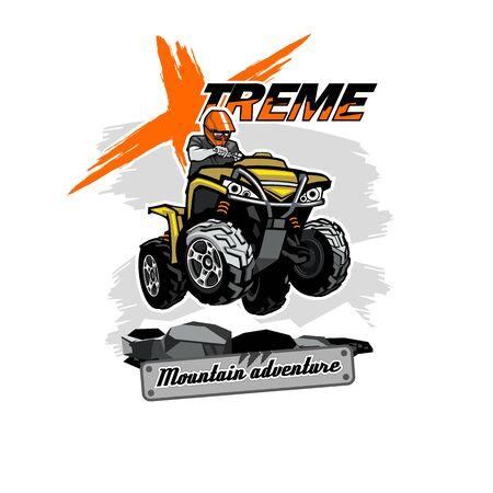 Quad bike ATV logo with Xtreme Mountain Adventure inscription, isolated background Illusztráció