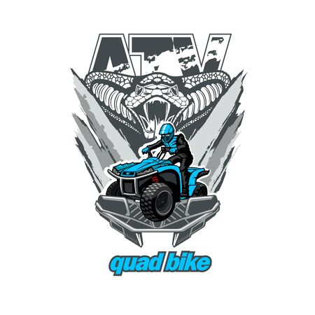 ATV Quad bike logo emblem with snake, isolated background Illusztráció