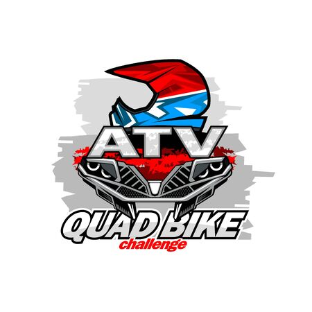 Front Quad bike and helmet racer emblem, isolated background.