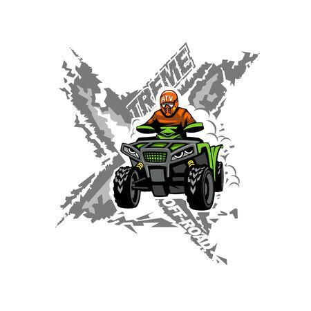 Xtreme ATV off-road Quad bike isolated background