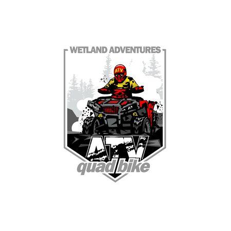 Off-Road wetland adventures with Quad bike, isolated background Illusztráció