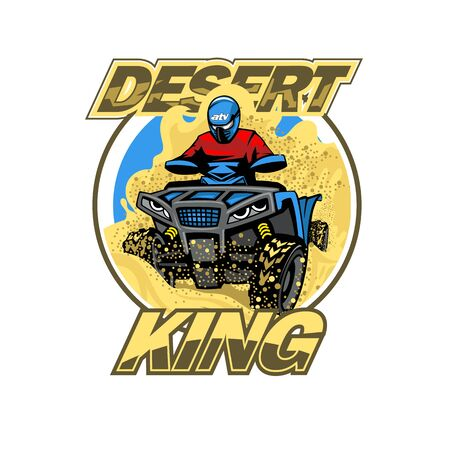 Quad Bike in the desert hills logo, isolated background Illusztráció