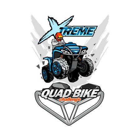 X-treme Quad bike ATV logo, isolated background Illusztráció
