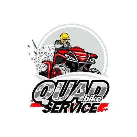 Quad Bike Service logo, isolated background vector file