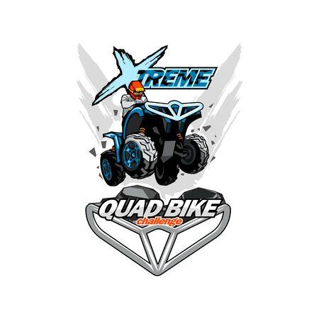 Extreme Quad bike logo, isolated background. Illusztráció