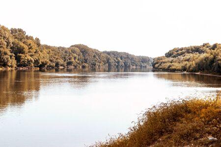 Autumn landscape on the Dnestr River in September