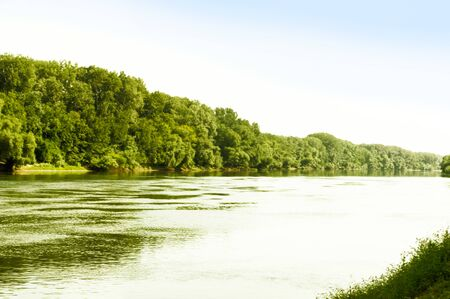 Dnestr river on a sunny day on a hot summer 写真素材