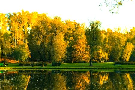 Lake in a city park in the fall with reflection in the water Stock fotó