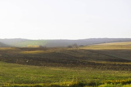 Autumn hills of different colors against a clear sky