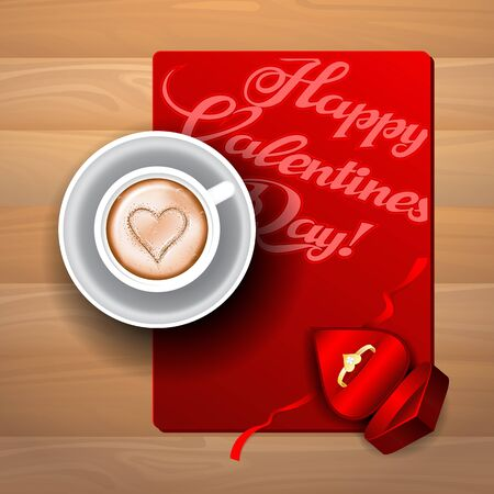 Cup of coffee with a heart greeting card and a gift for Valentines Day. Ilustração