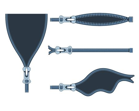 Set of plastic zippers in different positions on white background