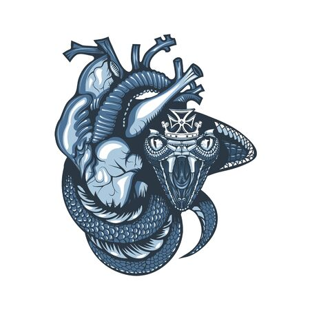 Vintage tattoo design with cobra and crown covering a human heart