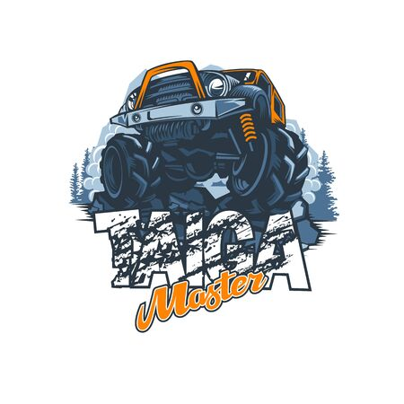 Off-road vehicle with name Master of the Taiga in impassable forests, logo in vector