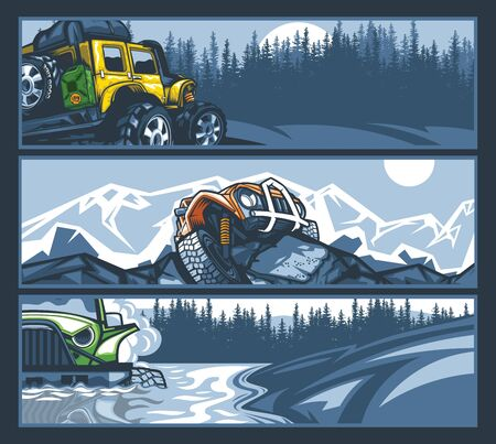Off-road vehicles in difficult situations, banner collection