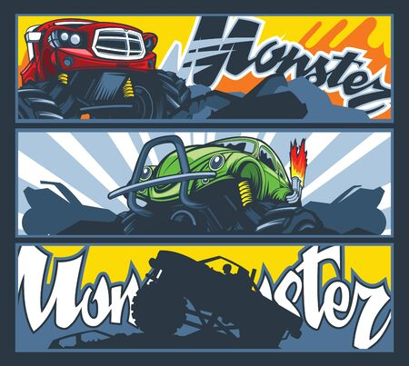 A collection of three banners with Monster cars. Vector graphics 向量圖像