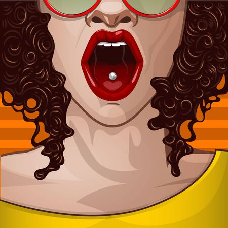 Sexy colored skin girl with an open mouth. Pop art comic book style illustration