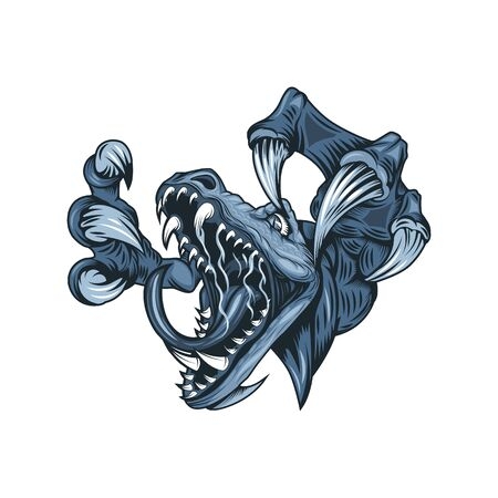 Drawing of a ferocious monster with open mouth