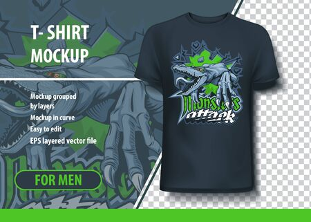Monsters Attack T-shirt mock-up with aggressive lizard Illustration