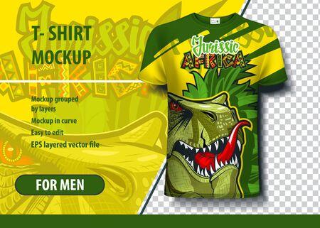 Jurisic Africa with dinosaur. Editable t-shirt print layout Ilustracja