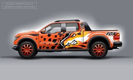 Editable template for wrap SUV with orange evil fox decal. Hi-res vector graphics Illustration