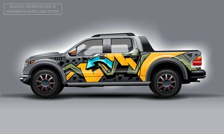 Editable template for wrap SUV with abctract graffiti decal. Hi-res vector graphics