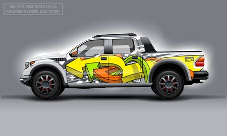 Editable template for wrap SUV with abctract graffiti arrows decal. Hi-res vector graphics