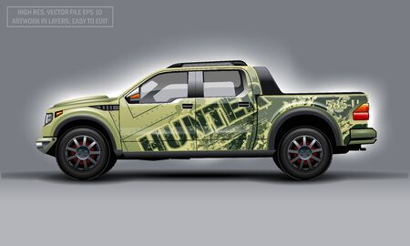 Editable template for wrap SUV with Hunter background decal. Hi-res vector graphics Illustration