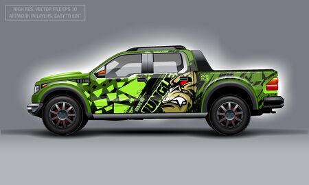 Editable template for wrap SUV with evil Gorilla decal. Hi-res vector graphics Illustration