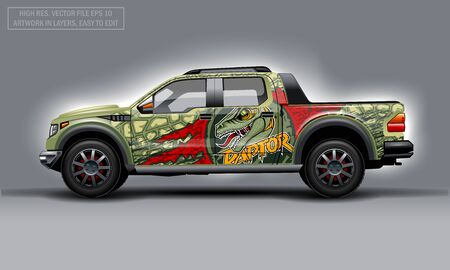 Editable template for wrap SUV with Raptor profile decal. Hi-res vector graphics