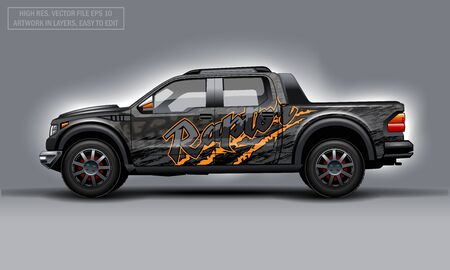 Editable template for wrap SUV with Raptor text and scratches decal. Hi-res vector graphics