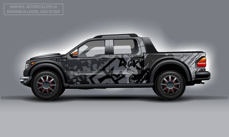 Editable template for wrap SUV with Skull abstract decal. Hi-res vector graphics Illustration