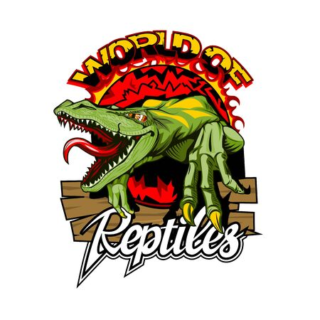 World of reptiles logo with a dangerous lizard in the center Illustration