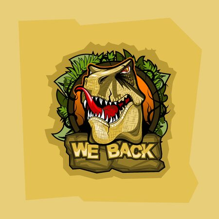 Logo with tyrannosaurus and inscription We back Illustration