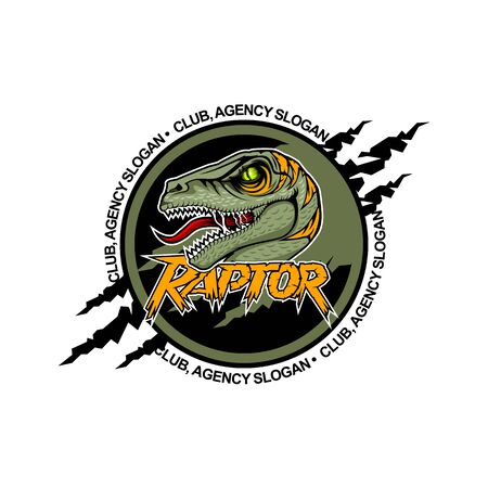 Scary Raptor in the center with open mouth. Team logo template